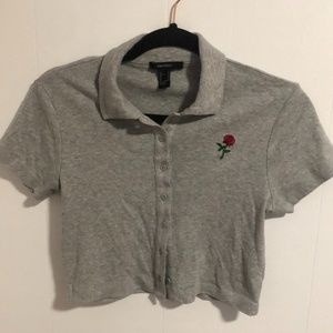 F21 Grey button down collared tee w/rose